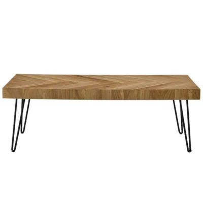 Wooden rectengular table with metal hairpin legs