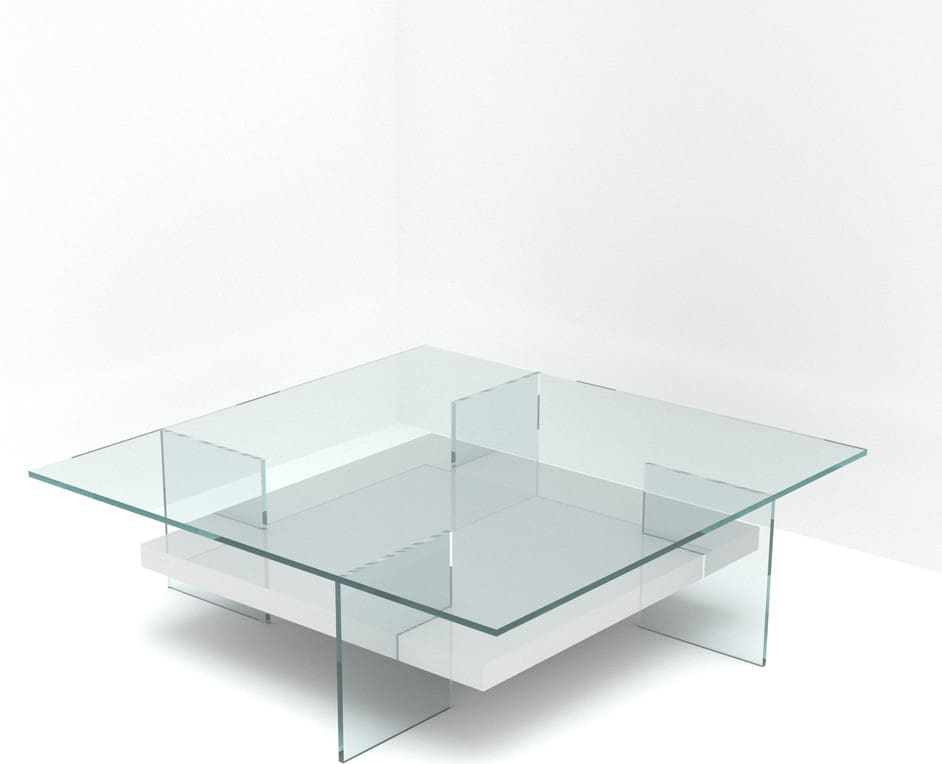 Tempered glass square top and legs, acrylic base