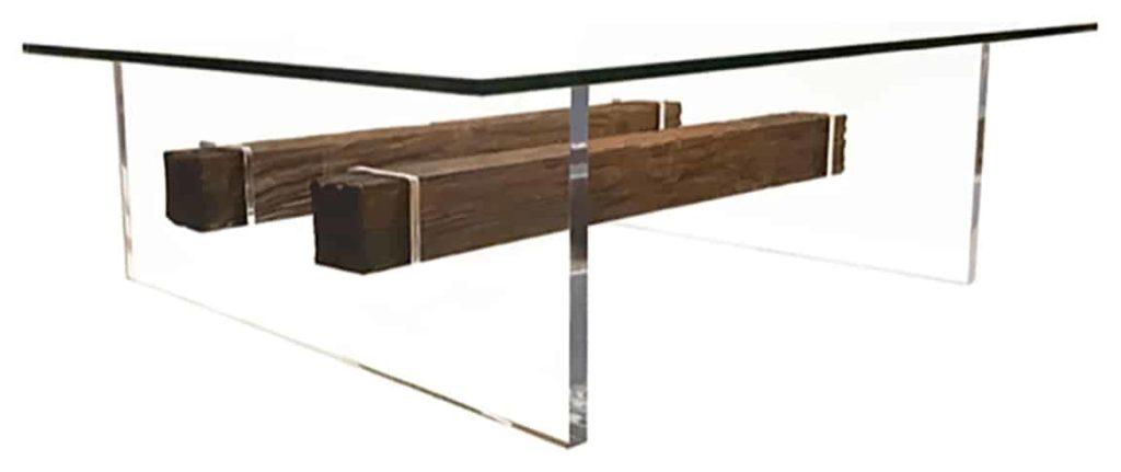 Tempered glass rectengular top, acrylic legs, two wooden beams between the legs