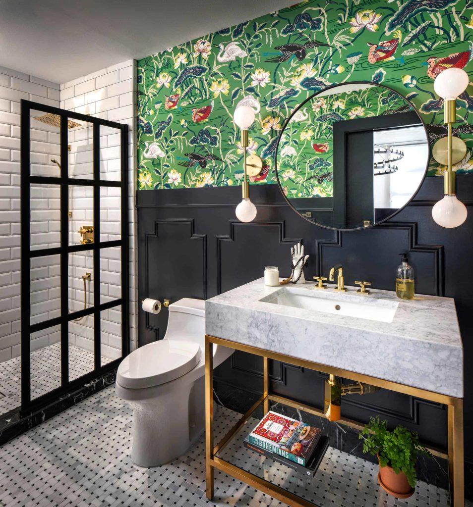 Eclectic bathroom, white tile walls, grey floor