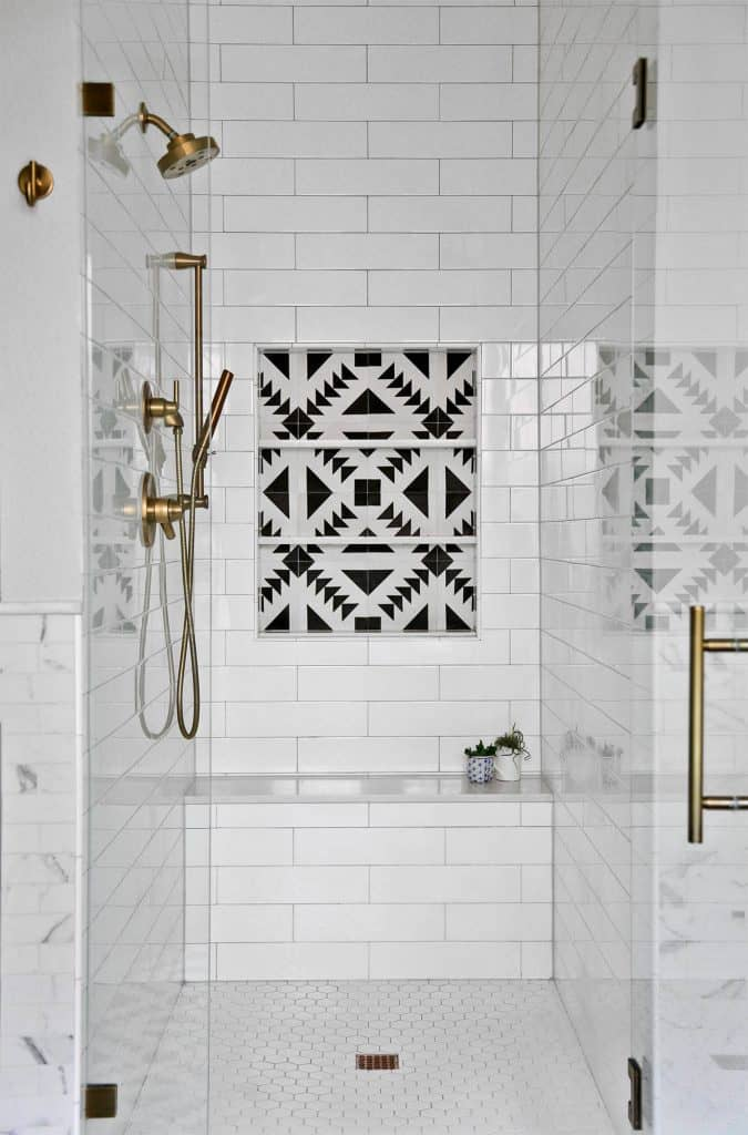Contrasting Centerpiece bathroom tile ideas