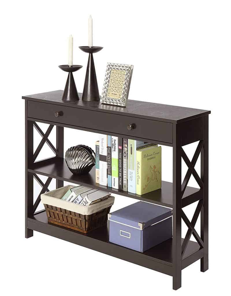 Oxford Espresso Sofa Table with Single Drawer