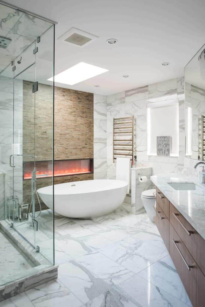 tiled fireplace ideas - intricate tile design