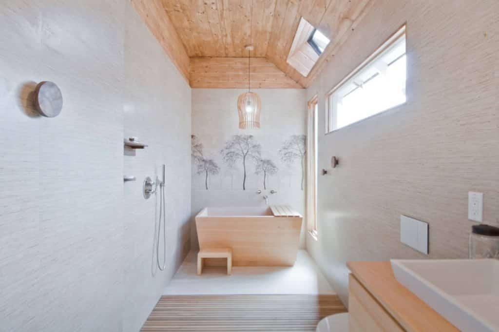 mid-sized zen multicolored tile and stone tile pebble tile floor bathroom design