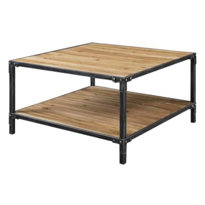 Wooden square table, metal frame, shelf at the bottom