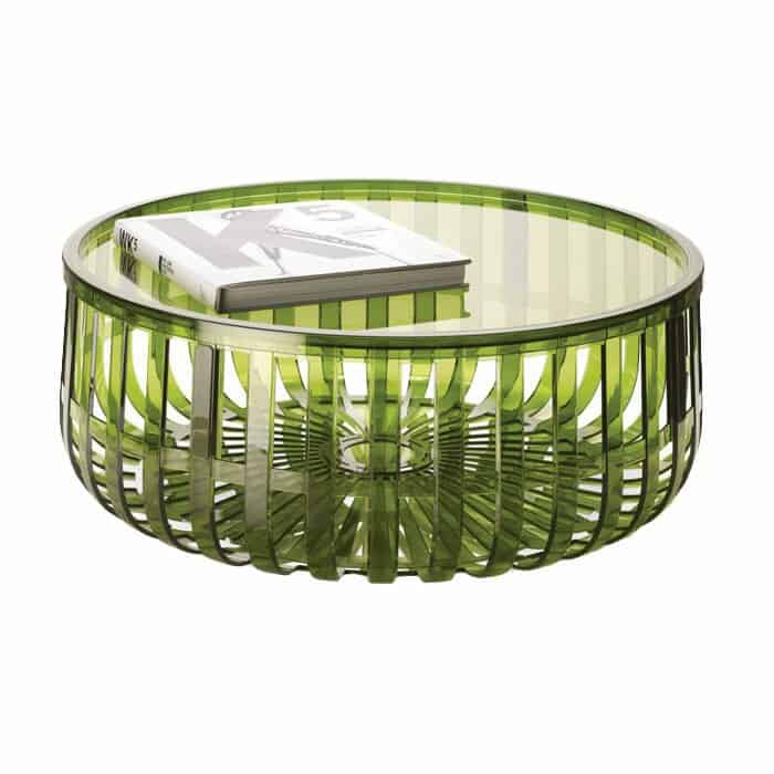 Polycarbonate green round table, basket style legs, storage under the removable top