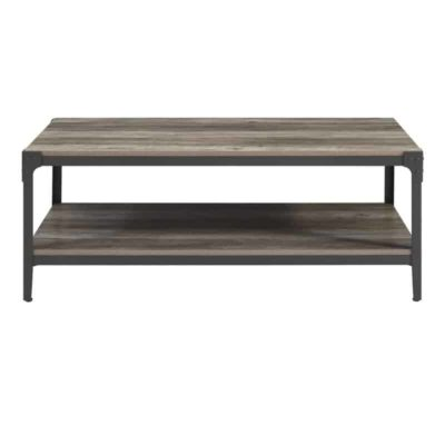 Wooden rectengular table, metal legs and corner caps, a shelf at the bottom