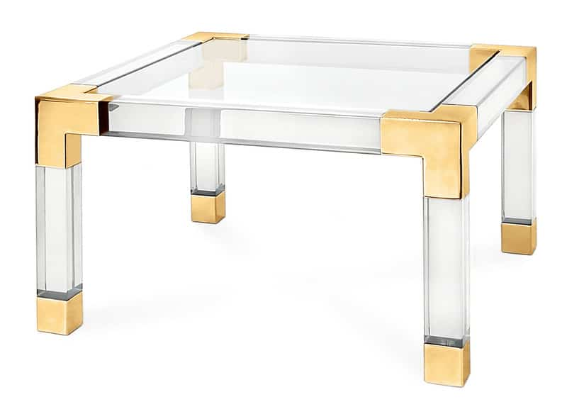 Square glass top, brass plated steel corners, acrylic legs