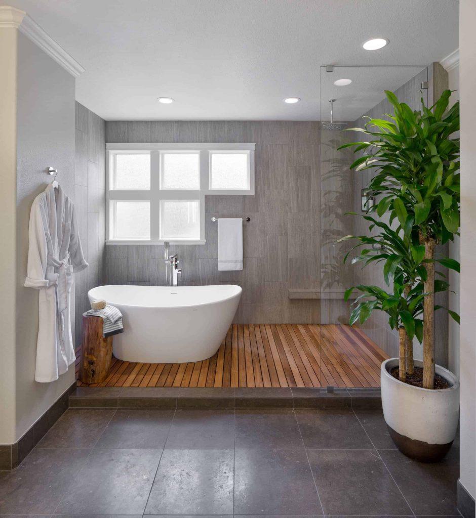 zen master gray tile bathroom design in Hawaii