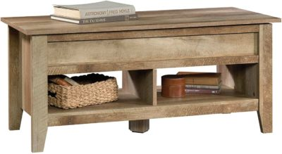 Lift-top rectengular rustic table, a shelf at the bottom divided into two starages