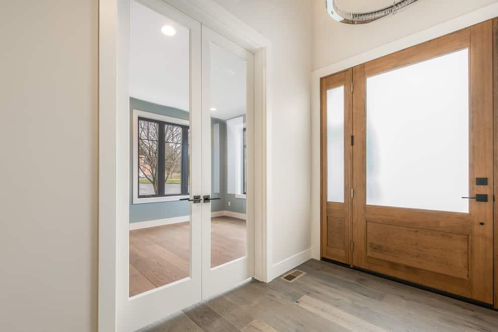 Rectangular Glass Cutout Closet Door Idea