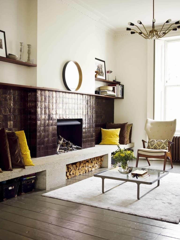 tiled fireplace ideas - dark bronze tile