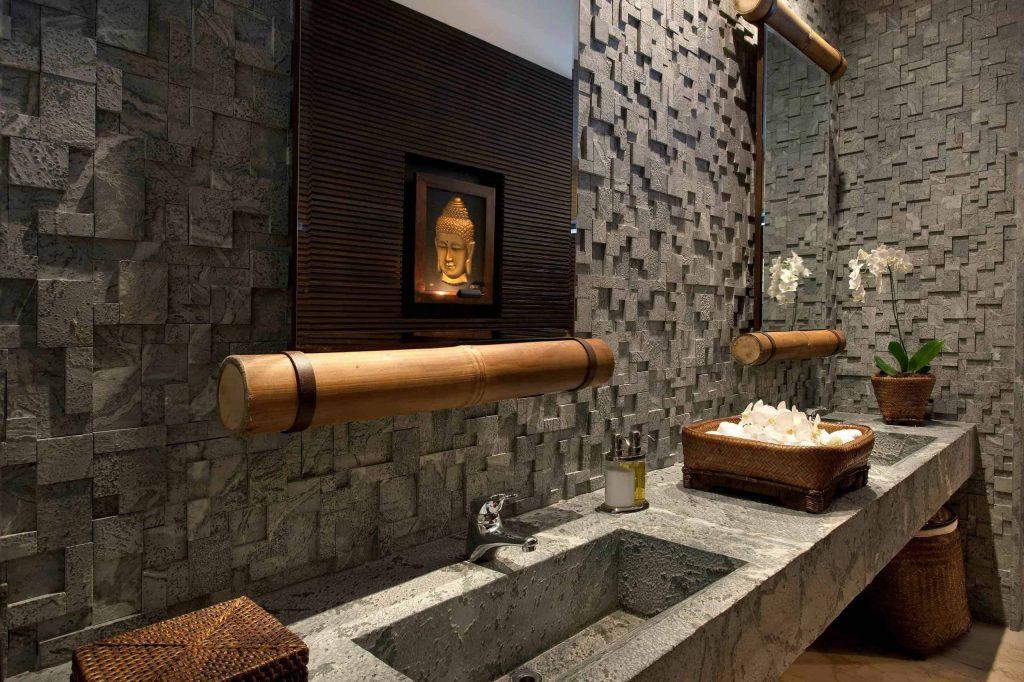 asian master brown tile and ceramic tile bathroom design in Portland