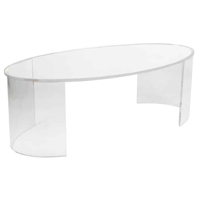 Acrylic table, oval top, bended sides