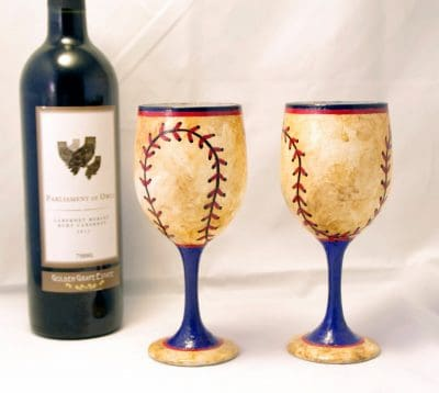 2 Blue and Red Worn Baseball Hand Painted Wine Glasses