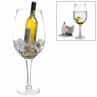 20 Inch Giant Clear Decorative Hand Blown Wine Glass Novelty Stemware