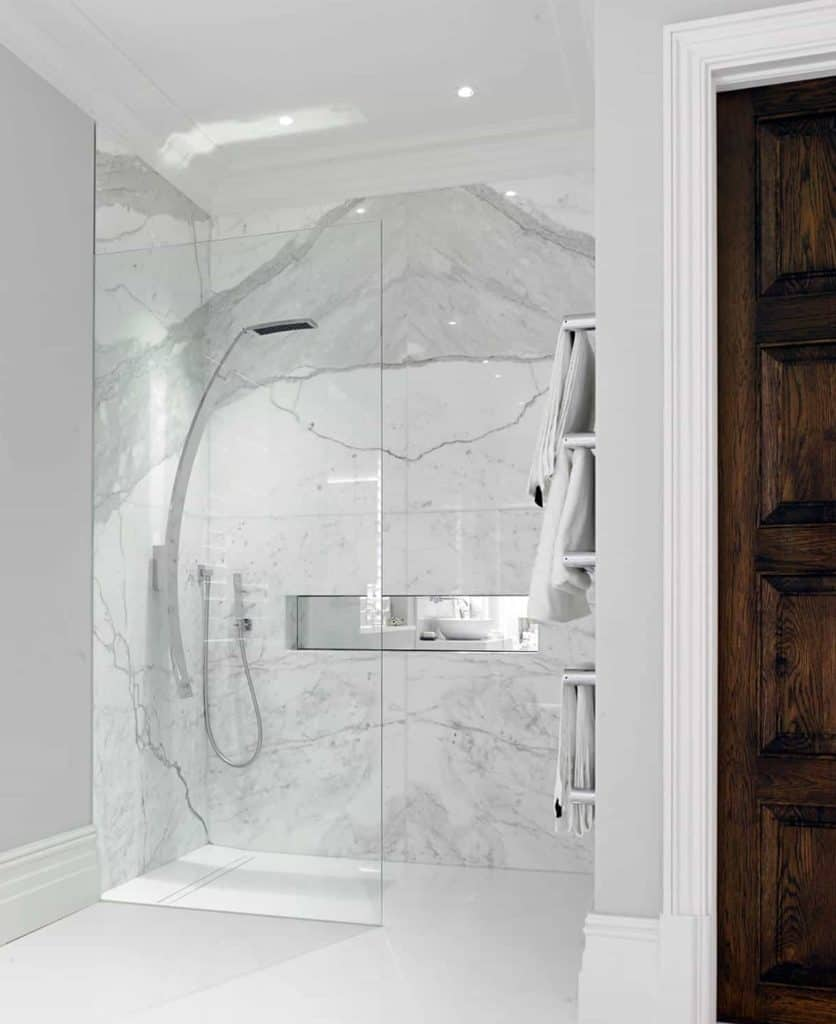 marble doorless shower