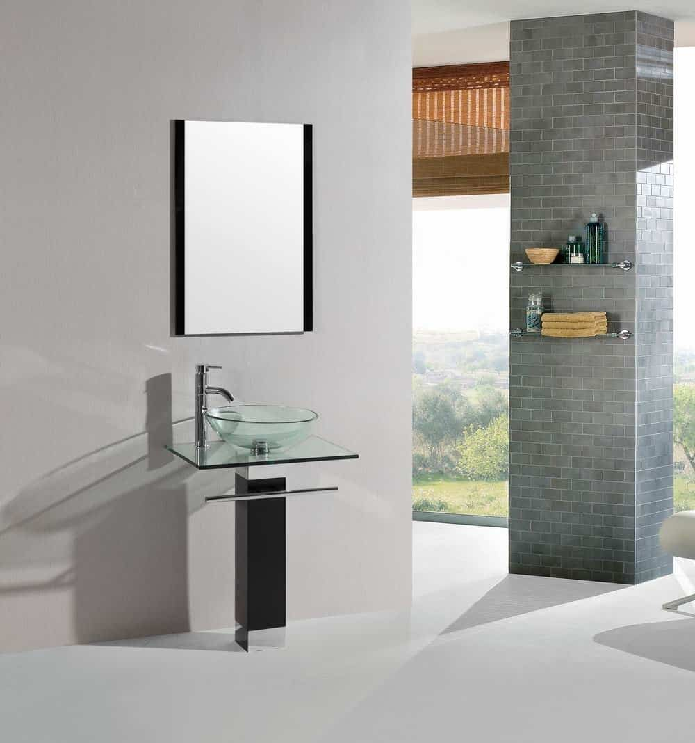 23 inch Modern Bathroom Vanity Tempered Glass Sink with Chrome Faucet