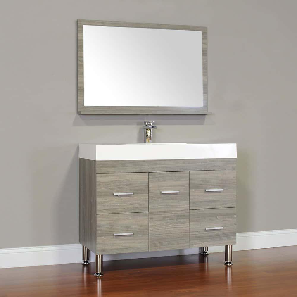 Alya Bath At-8041-G 39 Single Bathroom Vanity with Mirror in Grey