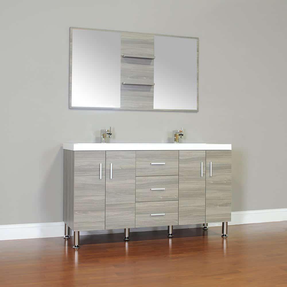 Alya Bath At-8043-G 56 Double Bathroom Vanity with Mirror in Grey