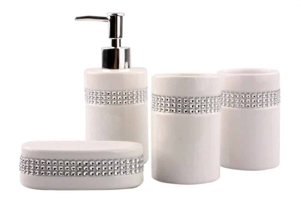 Bathroom Accessory Set - Elegant Ceramic White with Crystal Stripe