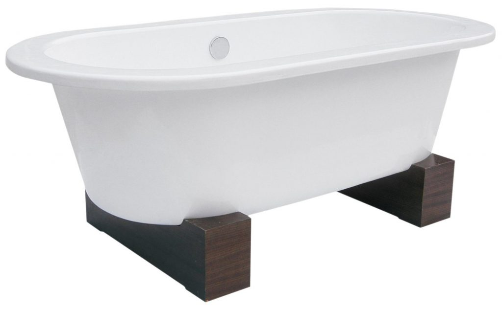 Belle Foret BFUSACWBWAL Contemporary Leg Tub Cast Iron, WhiteWalnut
