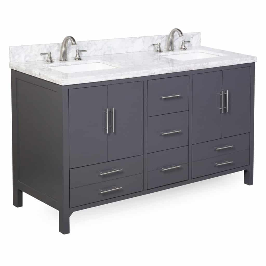 California Double Sink Bathroom Vanity with Marble Countertop, Cabinet with Soft Close Function and Undermount Ceramic Sink