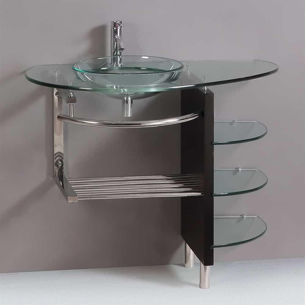 Contemporary Glass Vanity Combo SET with Shelfs