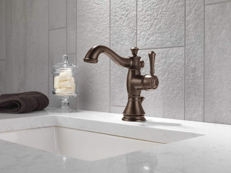 Delta Faucet 597LF-RBMPU Cassidy Single Hole-Single Handle 4-Inch Plate/Metal Pop-up, Venetian Bronze