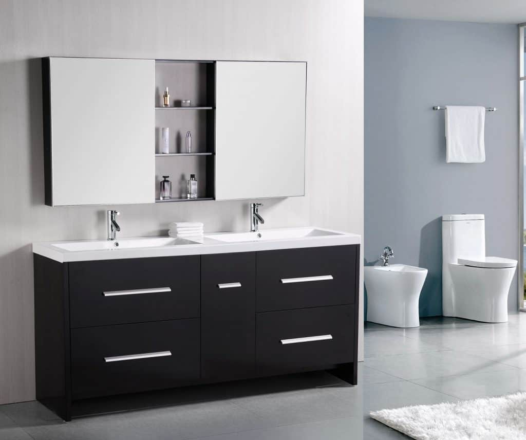 Design Element Perfecta Double Integrated White Acrylic Drop-in Sink Vanity Set