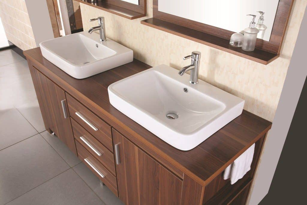 Design Element Washington Double Drop-In Vessel Sink Vanity Set with Three Drawers and Toffee Finish