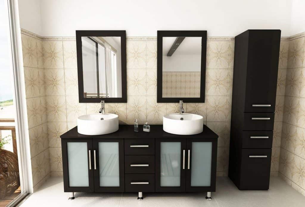 Double Lune Large Vessel Sink Modern Bathroom Vanity Cabinet