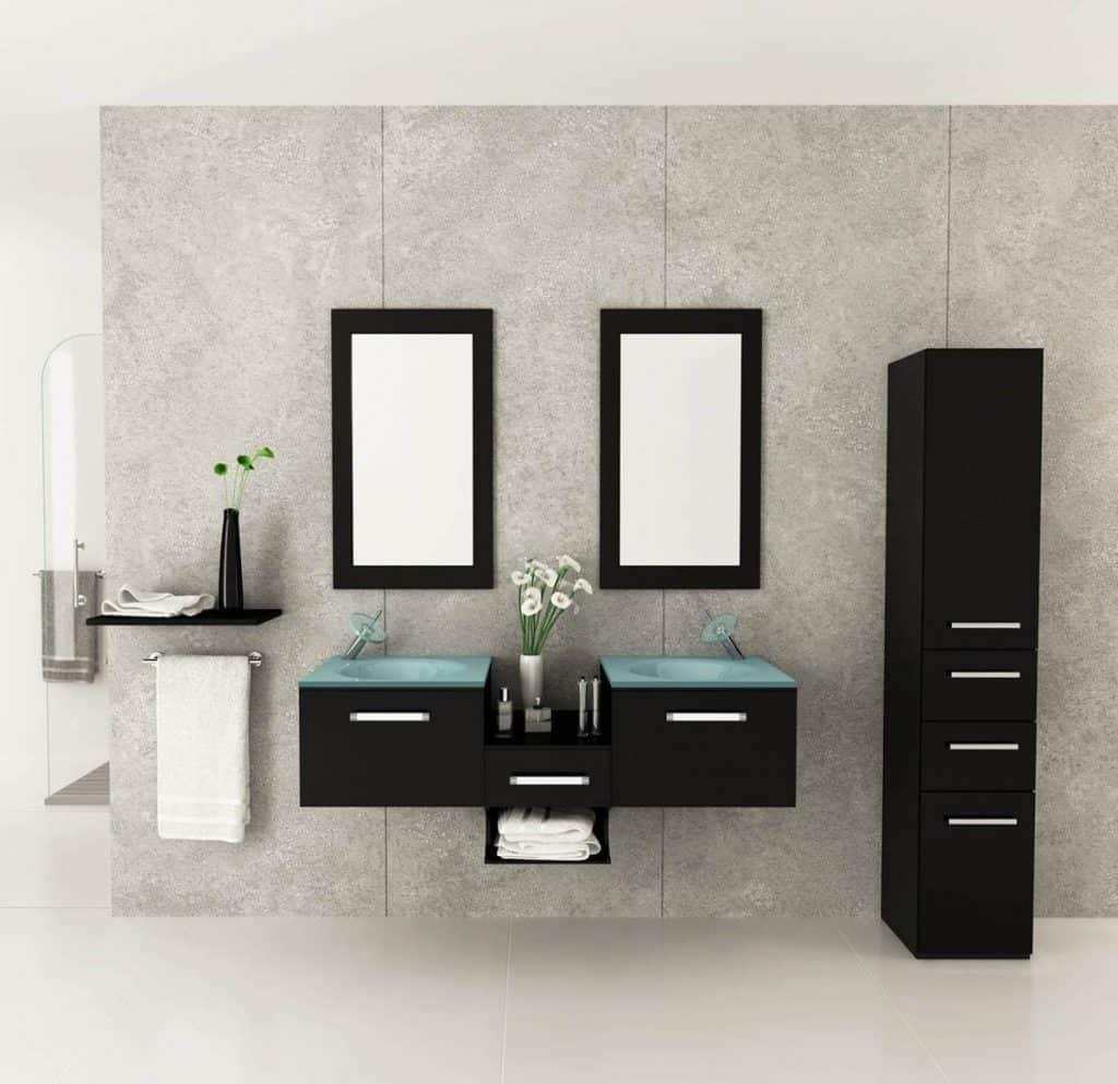 Estrella Double Vessel Sink Modern Bathroom Vanity Furniture Set