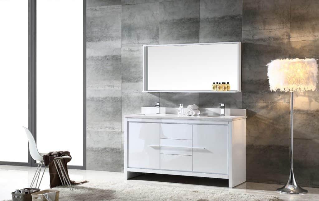 Fresca FVN8119WH Modern Allier Double Sink Bathroom Vanity with Mirror