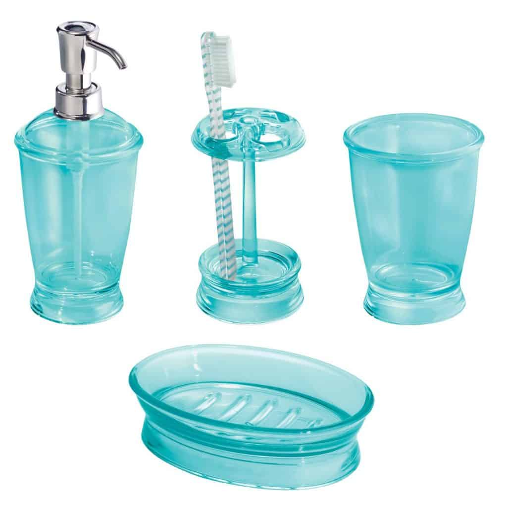 InterDesign Franklin 4-Piece Bath Accessories Set, Aruba Blue