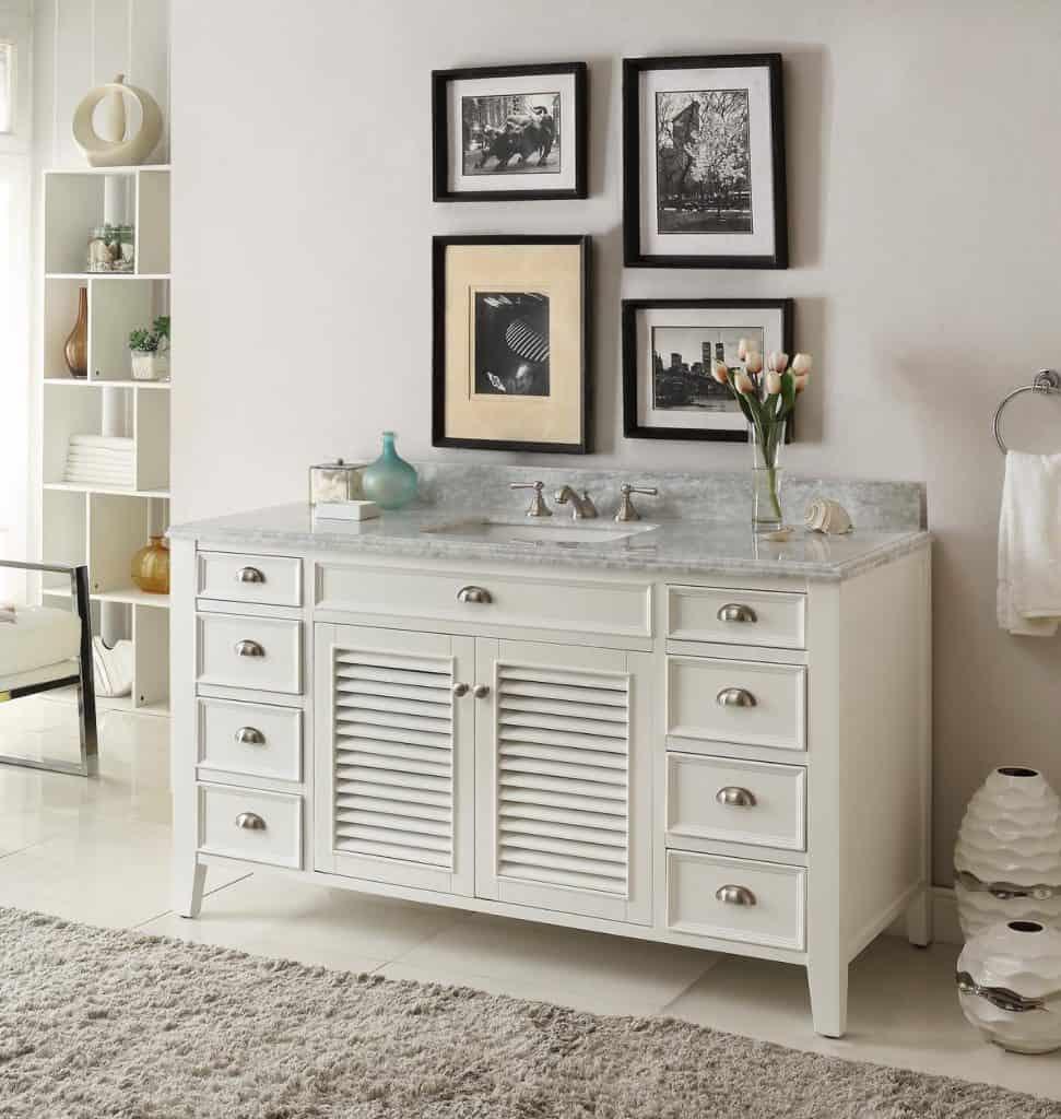 Kalani 60-inch White Bathroom Vanity