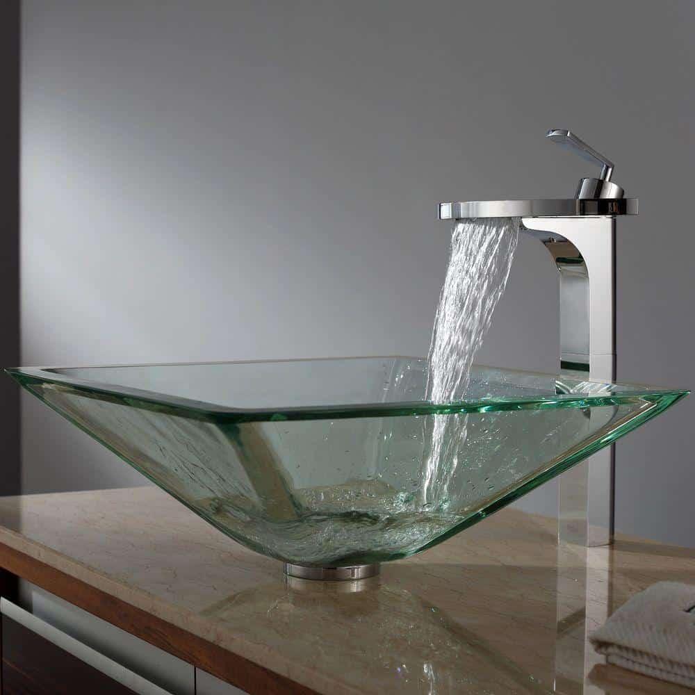 Kraus GVS-901-19mm Aquamarine Square Clear Glass Vessel Bathroom Sink