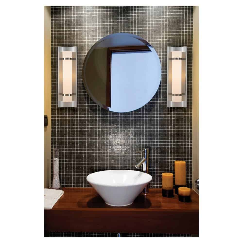 Murray Feiss WB1479BS Colin Collection 1-Light ADA Compliant Wall Sconce, Brushed Steel Finish with White Alabaster Glass