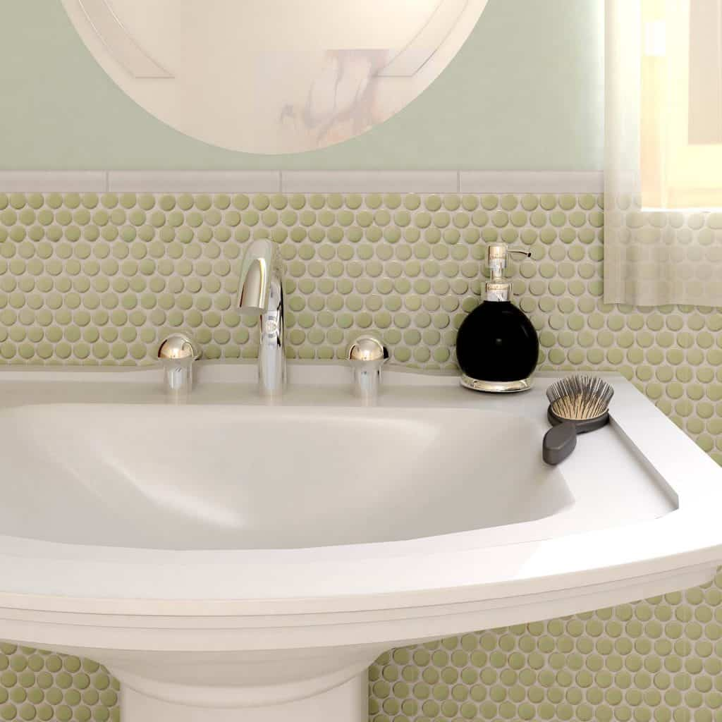 Penny Capri Green 12 14 x 12 Inch Porcelain Mosaic Floor & Wall Tile