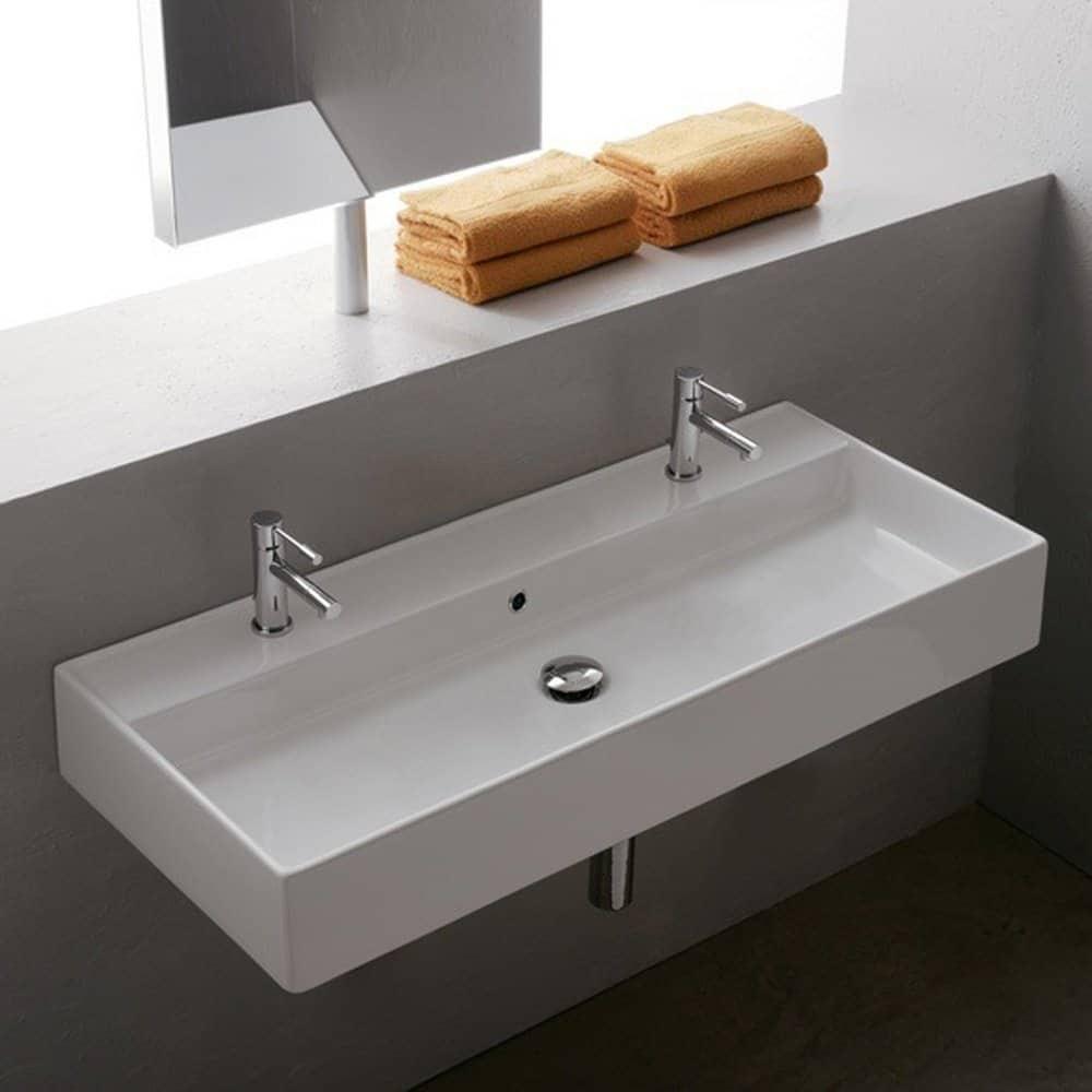 Scarabeo Scarabeo 8031R-100B-2Hole-637509879839 Luxury Wall Mounted Ceramic Sink, White