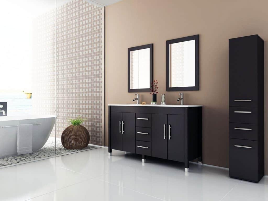 Sirius Contemporary Double Sink Bathroom Vanity With Stone Top