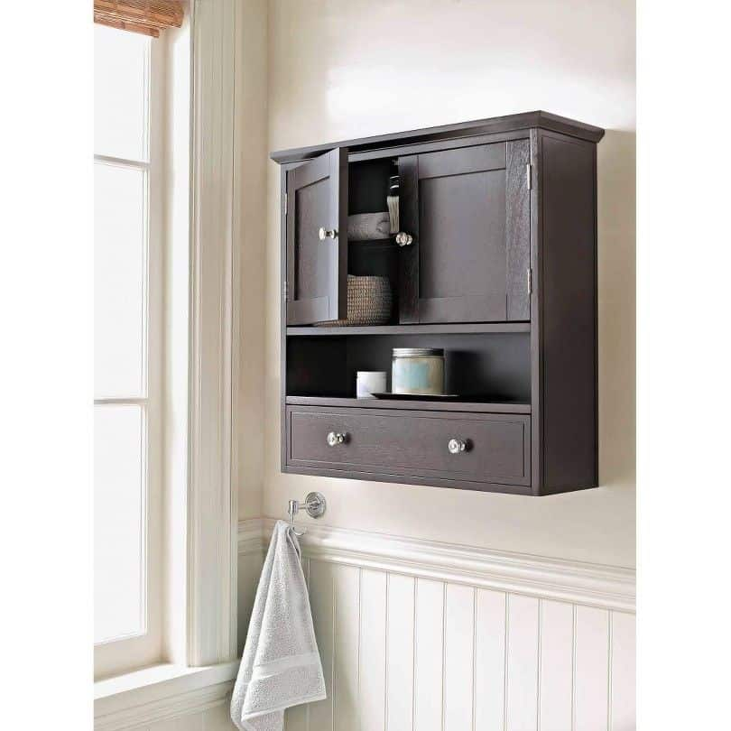 Threshold Bathroom Bridewater Luxury Wall Cabinet Espresso Medicine Double Doors Furniture Shelves Elegant Storage Wood Vanity