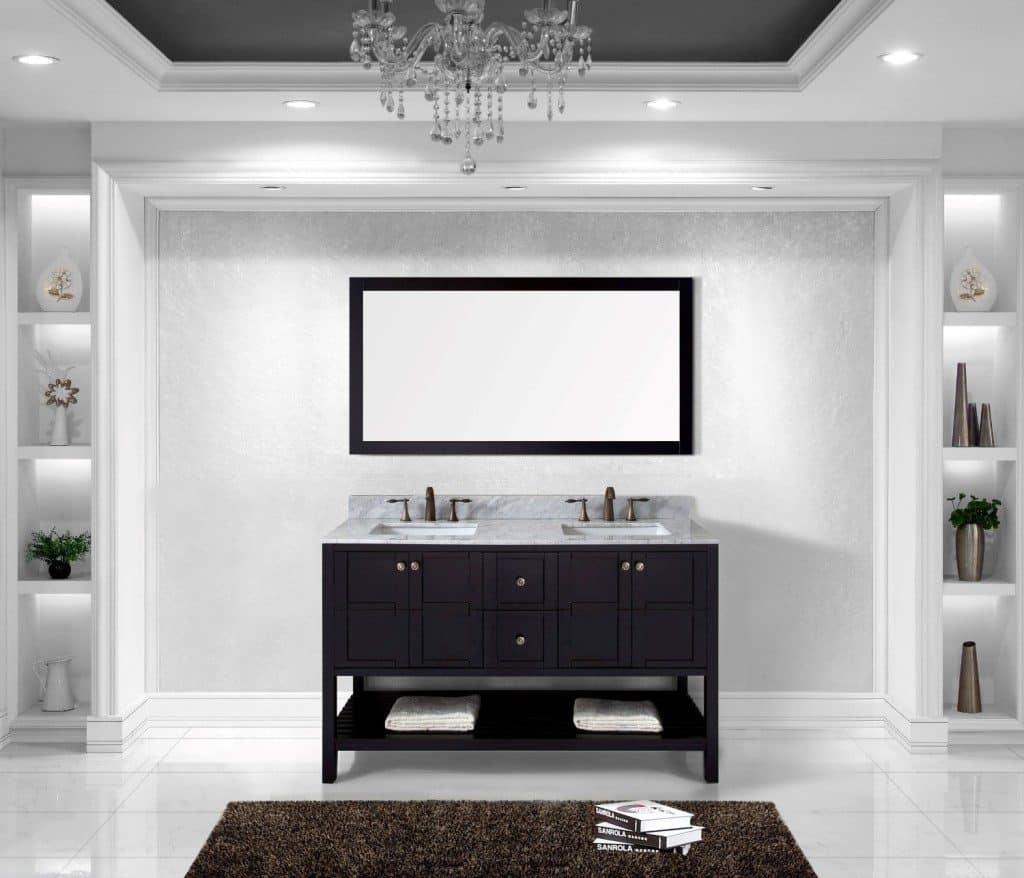 Virtu USA ED-30060-WMSQ-ES Winterfell 60-Inch Double Bathroom Vanity Set, Espresso