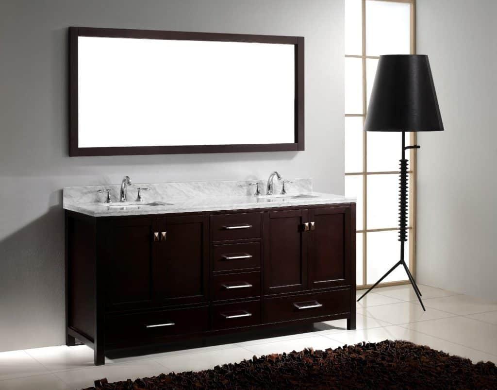 Virtu USA GD-50072-WMSQ-ES Caroline Avenue 72-Inch Bathroom Vanity with Double Square Sinks in Espresso and Italian Carrara White Marble