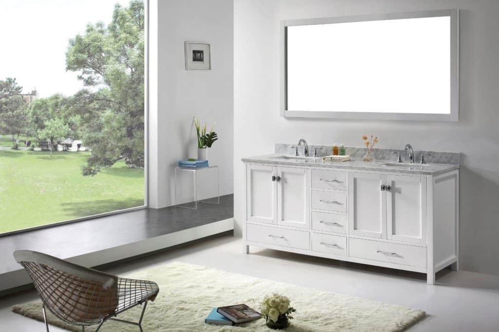 Virtu USA GD-50072-WMSQ-WH Transitional 72-Inch Double Sink Bathroom Vanity Set, White