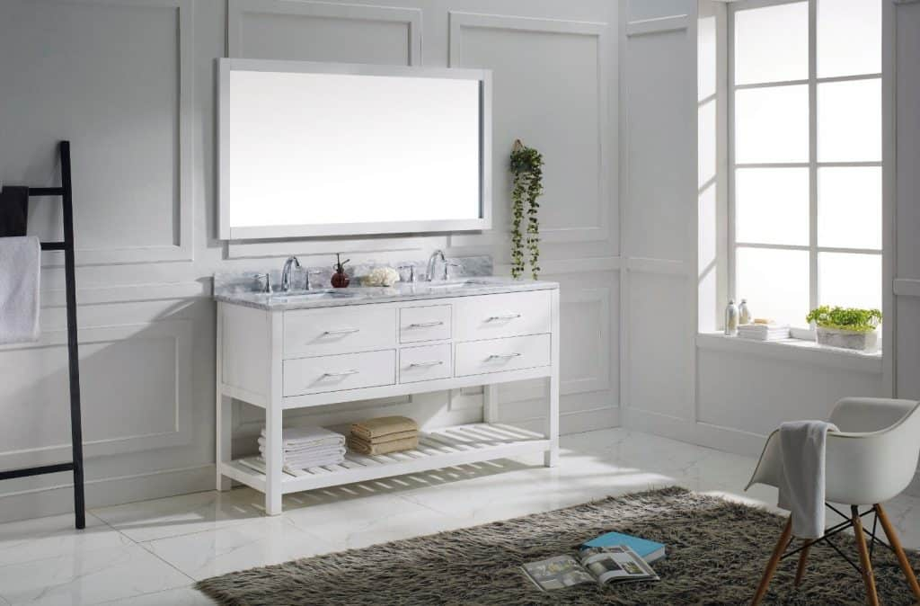 Virtu USA MD-2260-WMRO-WH-010 Transitional 60-Inch Double Sink Bathroom Vanity Set with Full Length Mirror, White