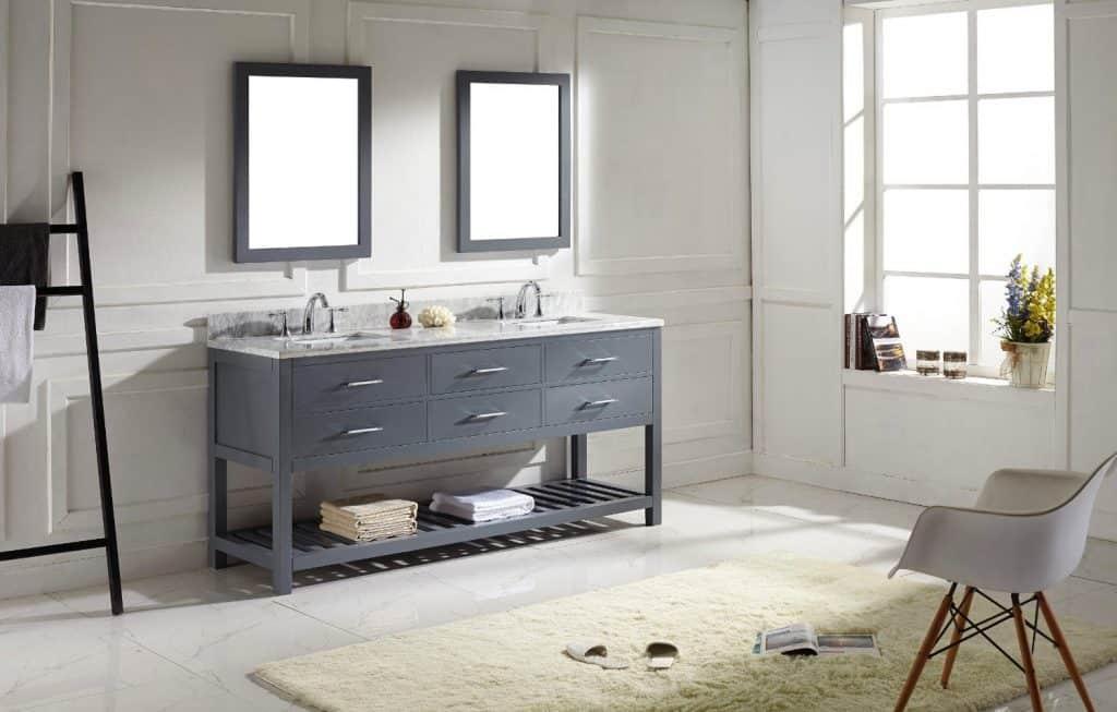 Virtu USA MD-2272-WMSQ-GR Transitional 72-Inch Double Sink Bathroom Vanity Set, Grey