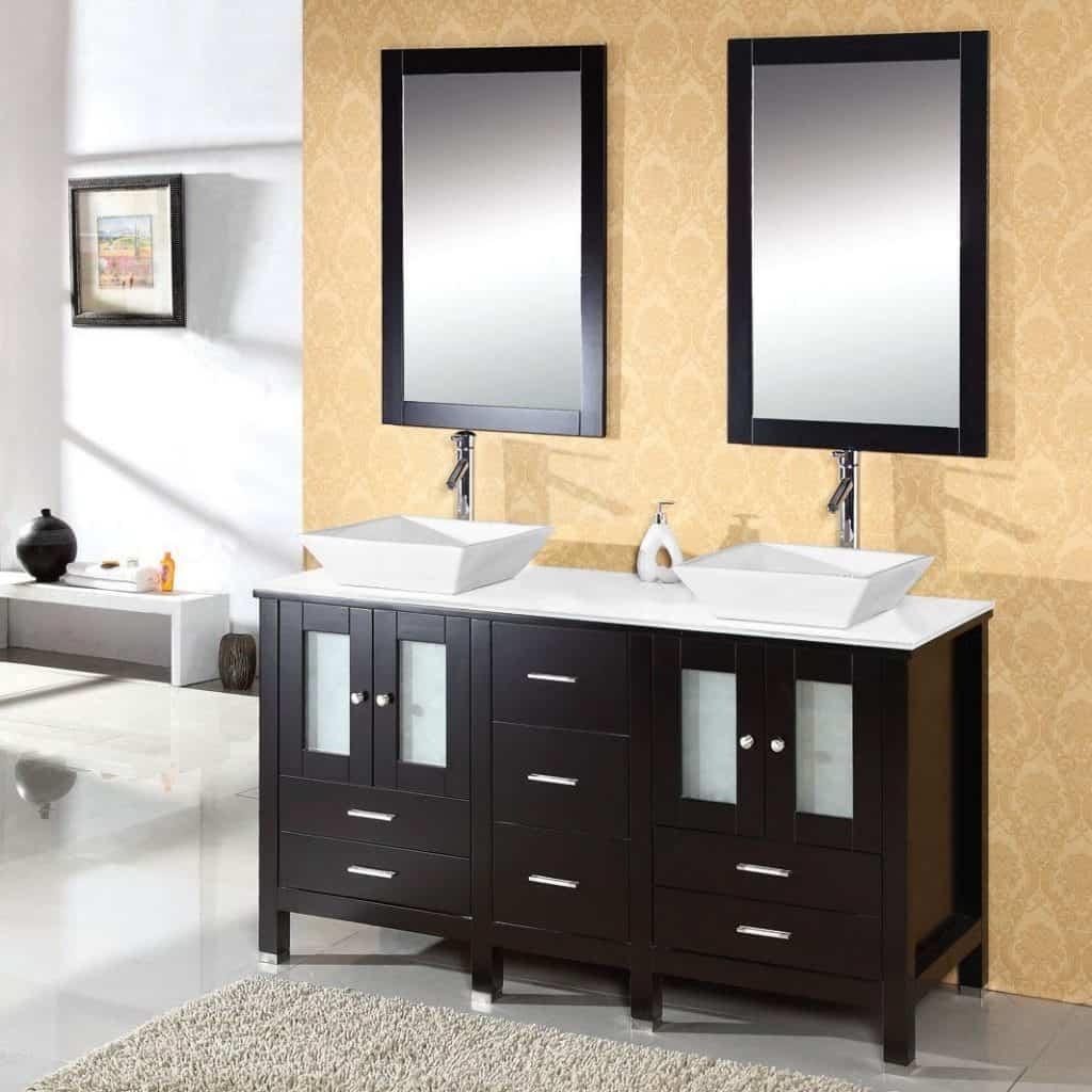 Virtu USA MD-4305-S-ES Bradford 60-Inch Bathroom Vanity with Double Sinks, Espresso Finish