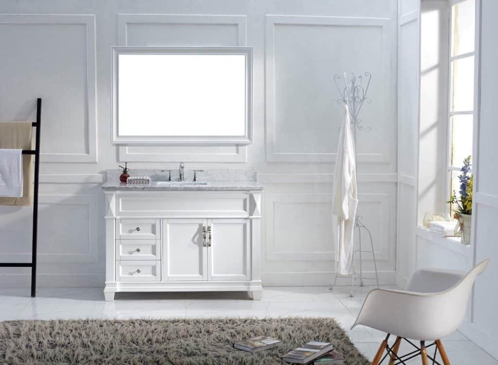 Virtu USA MS-2648-WMSQ-WH Transitional 48-Inch Single Sink Bathroom Vanity Set, White