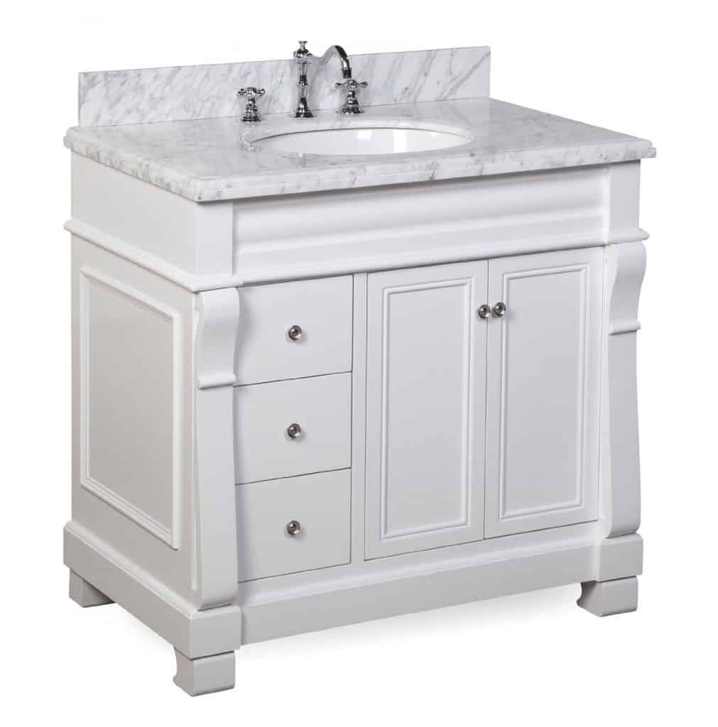 Westminster Bathroom Vanity with Marble Countertop, Cabinet with Soft Close Function and Undermount Ceramic Sink, Carrara White